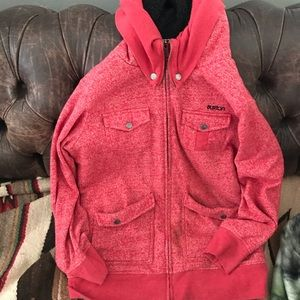 Burton red fleece zip up hoodie
